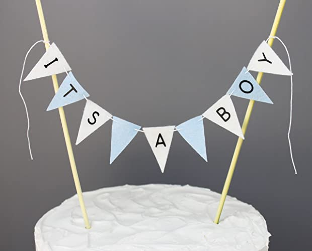 Amazon Blue And White Its A Boy Cake Banner Topper Baby Shower