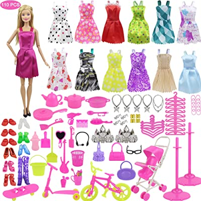 Ecore Fun 110 Item = 10 Pcs Mini Dresses Outfits + 100 Pcs Different Accessories for 11.5 Inch Girl Doll: Toys & Games