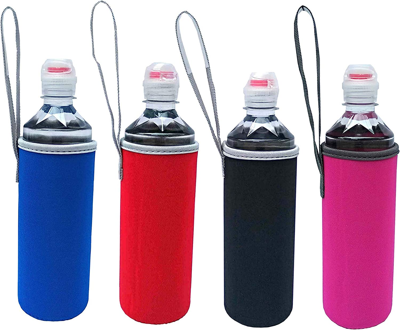 E - Living 500ML (16.9 OZ) Neoprene Water Bottle Cooler/Coolie/Cover/Insulator/Holder/Huggie/Sleeve - 4 Pack (8 Colors) (Red/Blk/Pink/N.Green/Orange/Teal)) (pink/blk/red/navy)