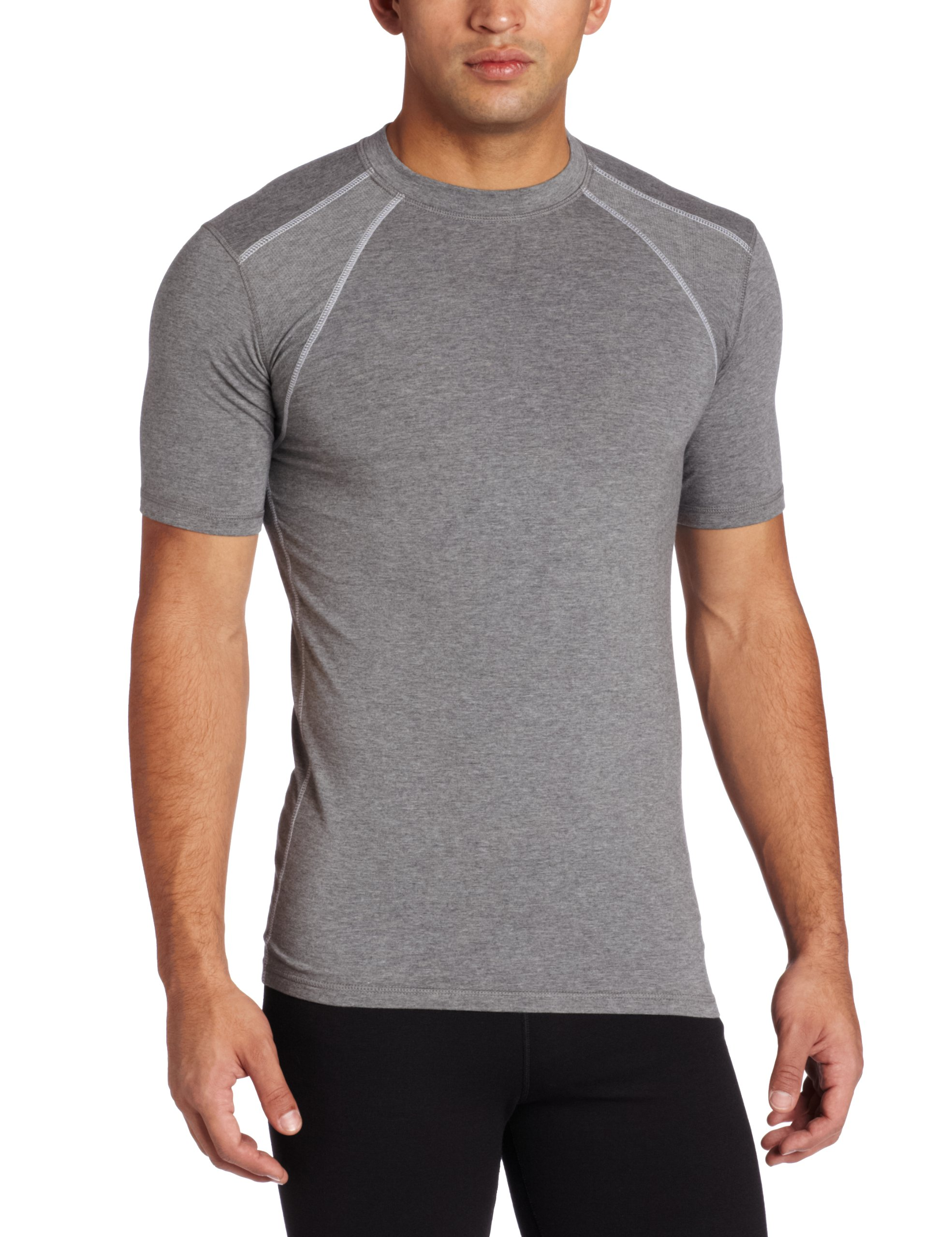 tasc performance men's hybrid fitted short sleeve t-shirt, heather gray, small