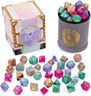 Cup of Illusion: 5 Complete Sets of 7 Premium Two-Color Swirl Polyhedral Role Playing Gaming Dice for Tabletop RPGs | Includ