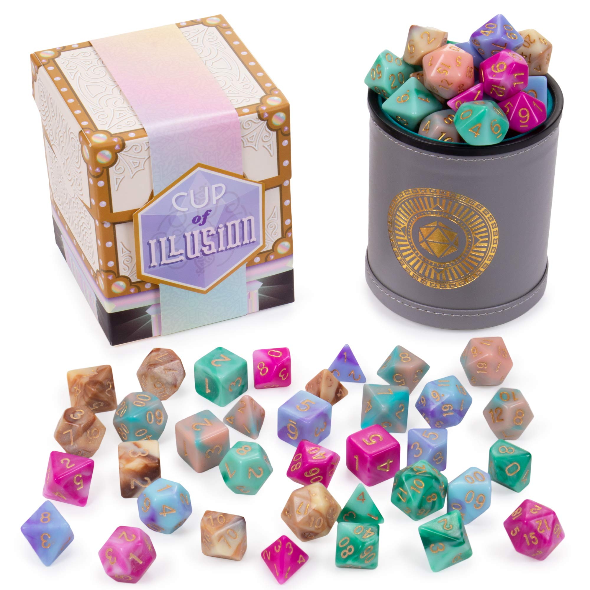 Cup of Illusion: 5 Complete Sets of 7 Premium Two-Color Swirl Polyhedral Role Playing Gaming Dice for Tabletop RPGs | Includes Grey Leather Dice Cup Accessory by Wiz Dice