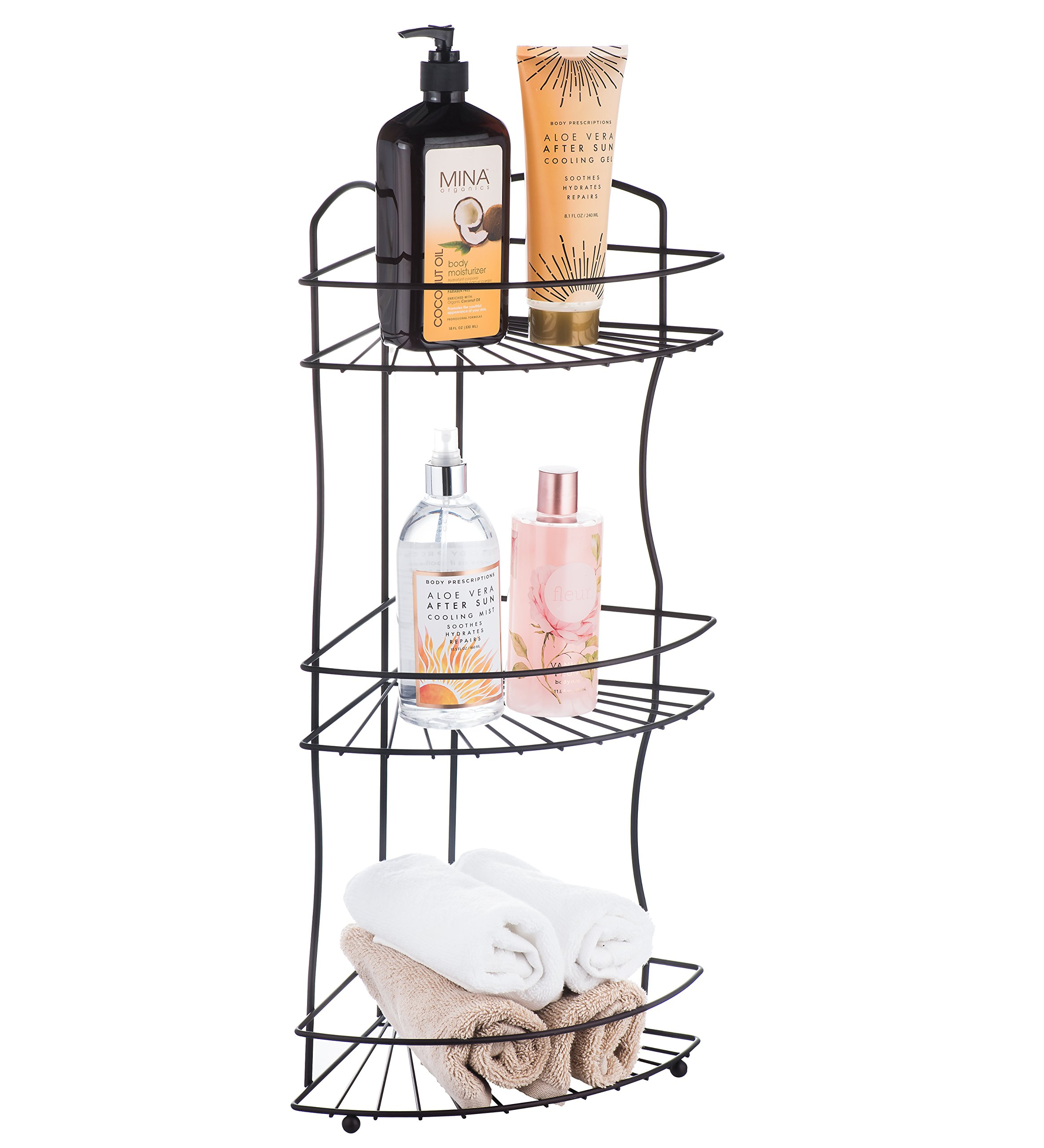 AMG and Enchante Accessories Free Standing Bathroom Spa Tower Floor Caddy, FC232-A BKN, Black Nickel