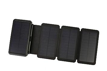 Cargador Solar PowerLocus – [4 Paneles Eficientes] Cargador Inalámbrico Rápido USB-C 24000mAh Resistente al Agua Para Emergencias, Batería Externa, ...