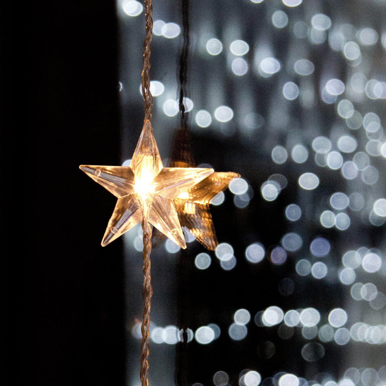 Lights4fun Cortina de 40 Estrellas iluminadas por LED Blanco con Cable Transparente