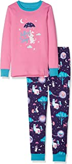 Hatley Organic Cotton Long Sleeve Appliqué Pyjama Sets, Ensemble Fille
