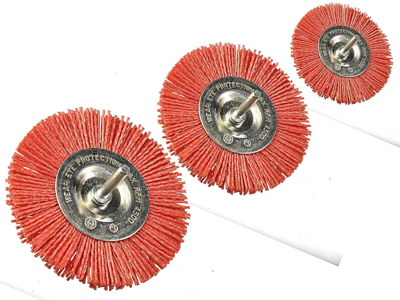 Lot de 3 brosses à disque en nylon pour perceuse, visseuse sans fil Ø 100 mm + 75 mm + 50 mm de diamètre