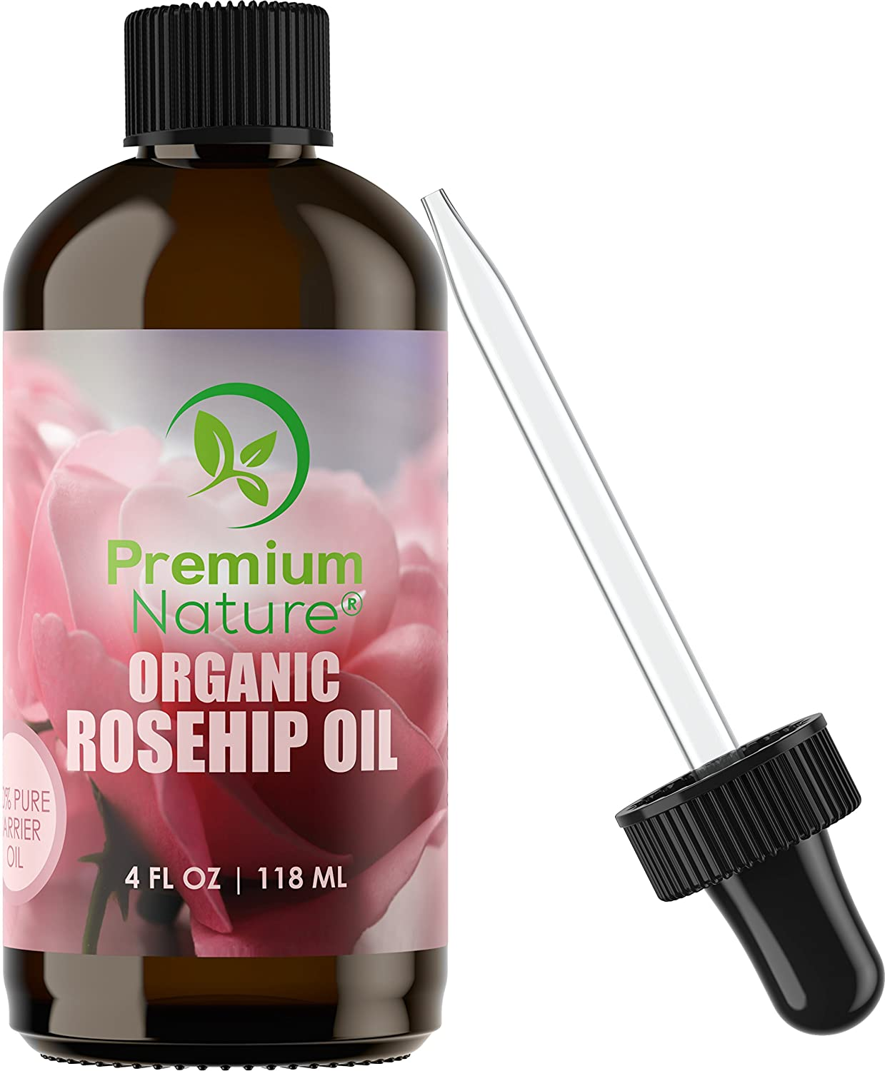 Organic Rosehip Seed Essential Oil - 4 oz Pure Cold Pressed Unrefined Rose Hip Serum for Face Hair Nails 100% Natural Skin Care Moisturizer Scar Removal & Facial Acne Treatment Anti Aging Vitamin Oils Premium Nature
