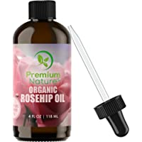 Organic Rosehip Seed Essential Oil - 4 oz Pure Cold Pressed Unrefined Rose Hip Serum for Face Hair Nails 100% Natural Skin Care Moisturizer Scar Removal & Facial Acne Treatment Anti Aging Vitamin Oils