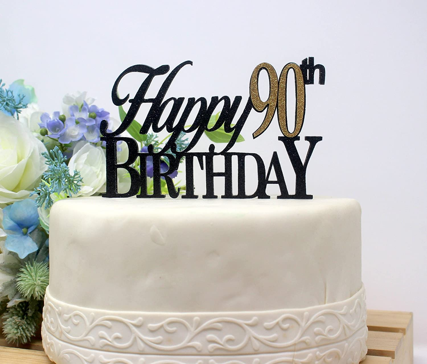 All About Details Black Happy 90th Birthday Cake Topper CATH90B