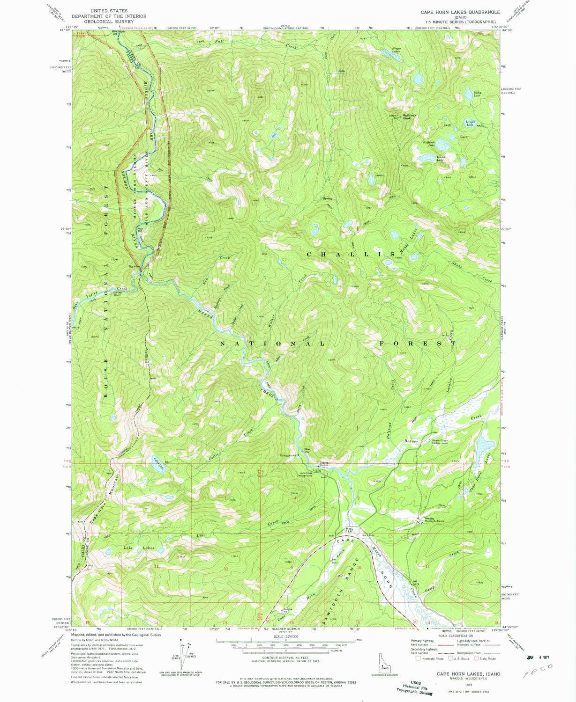 Amazon.com : YellowMaps Cape Horn Lakes ID topo map, 1:24000 ...