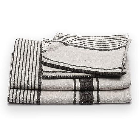 Juego de toallas de ba?o de lino en color negro a rayas modelo Provance