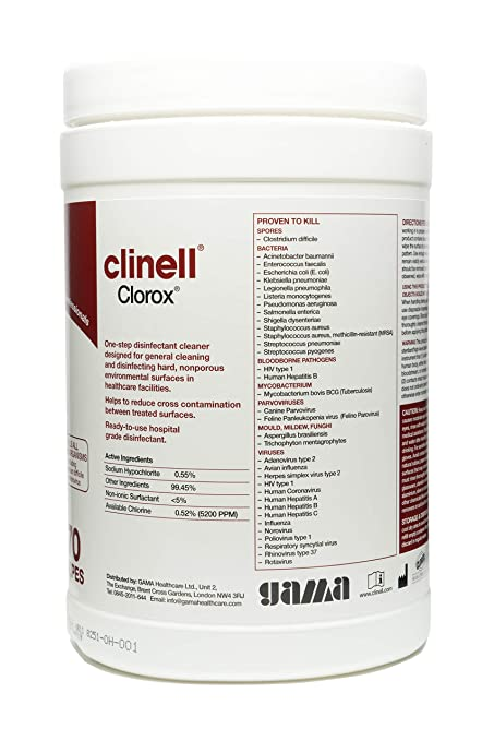 Clinell Clorox - Toallitas húmedas (bote de 70 unidades): Amazon.es: Industria, empresas y ciencia