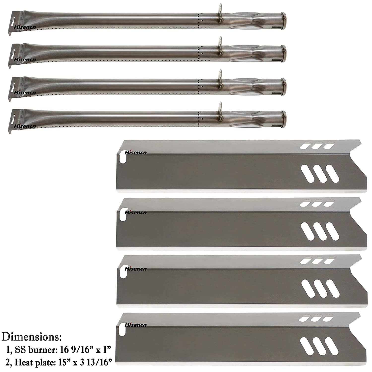 Hisencn Set of 4 Stainless Steel Burners & Heat Plates, Burner Cover Repair kit Replacment for Better Home and Garden BH15-101-099-02, Backyard, Uniflame Gas Grill
