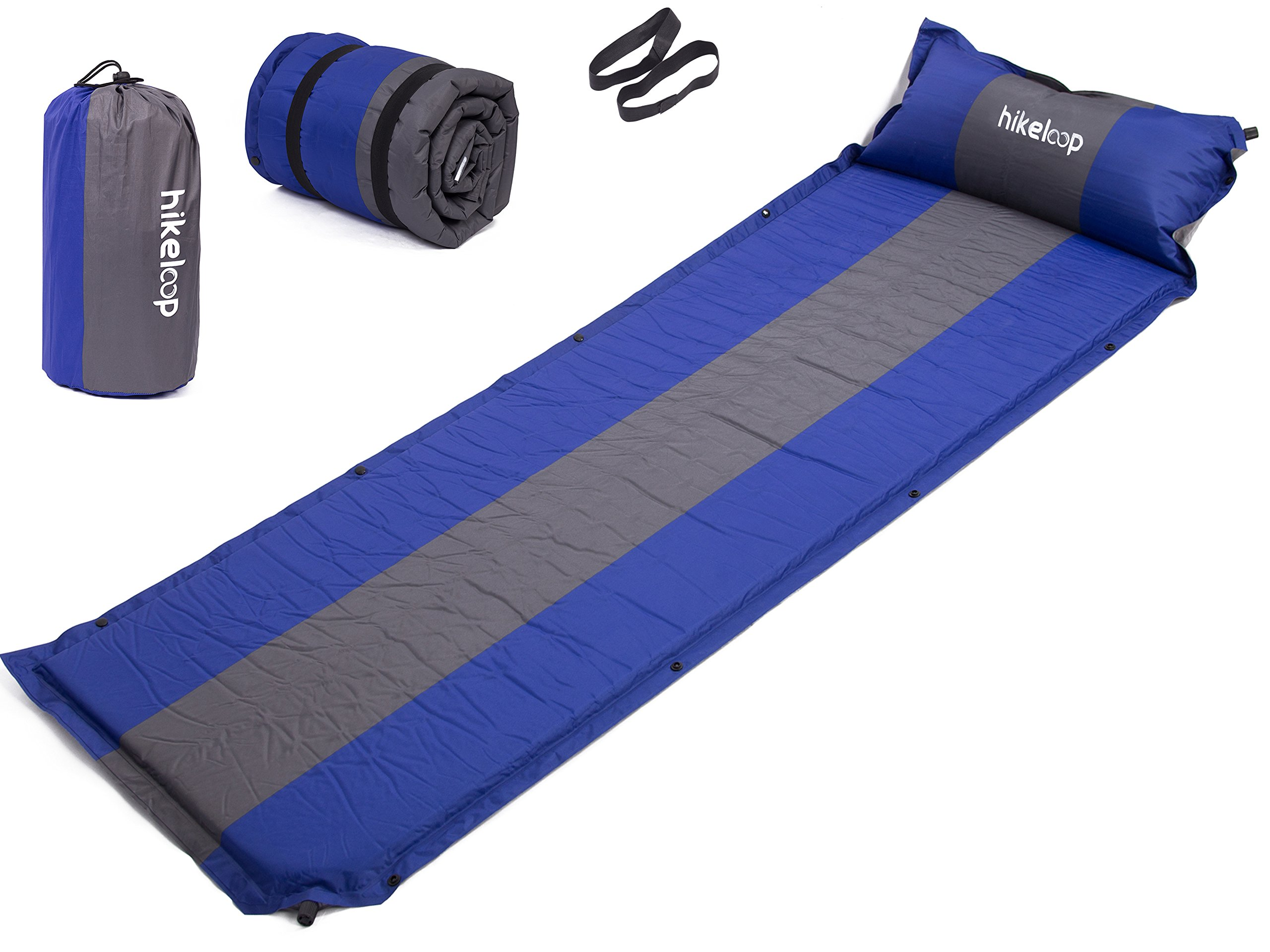 Inflatable Air Sleeping Pad with Built-in Pillow, Lightweight, Waterproof Fabric, Compact and Comfortable, Quick Flow Valve, Thick Outer Skin, Superior Sleeping Pad, for Camping, Hiking, Backpacking