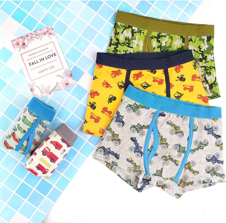 Auranso Boys Boxer Briefs Toddler Kids Underwear 5 Pack Dinosaur Truck Cotton Boy Shorts Underpants 2-12 Years