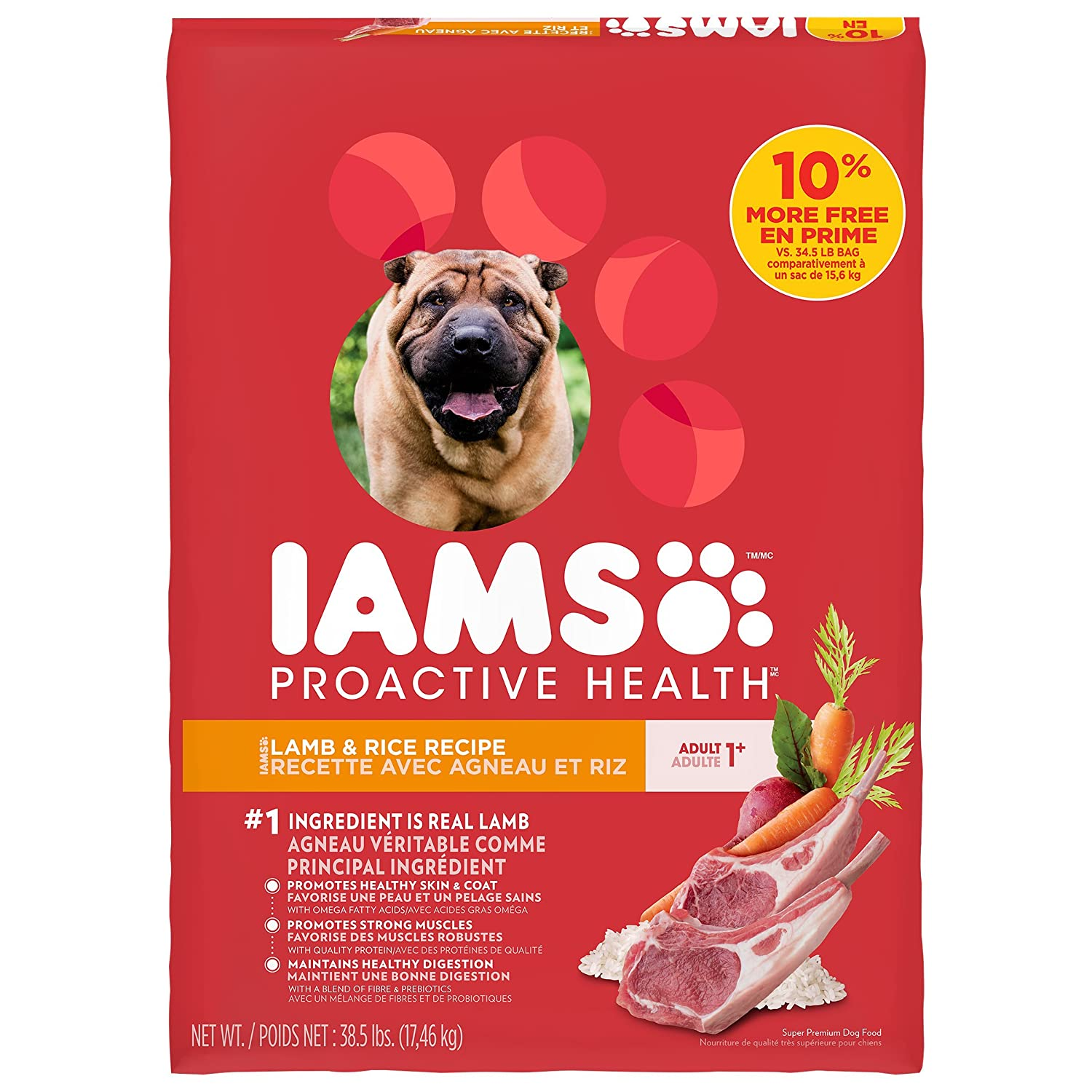 17.46kg IAMs Proactive Health Dry Food for Dogs Lamb 17.46kg