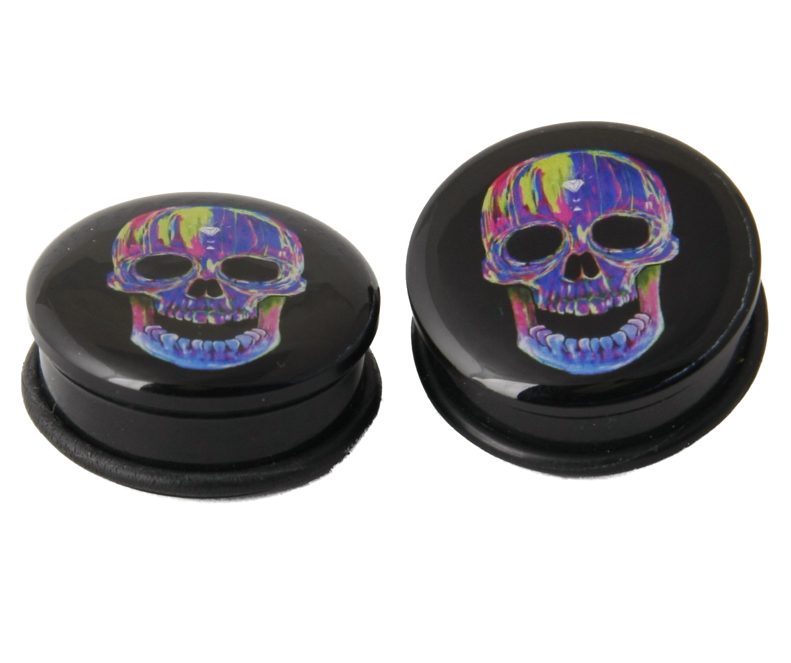 JewelryVolt Indian Apache Skull Design Colorful Acrylic Double Flare Solid Tunnel Ear Plugs Gauges (10 Millimeters)