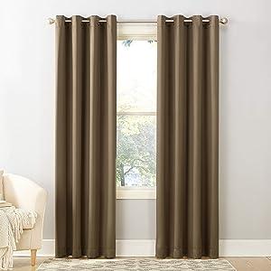 "Sun Zero Barrow Energy Efficient Grommet Curtain Panel, 54"" x 63"", Mocha Brown"