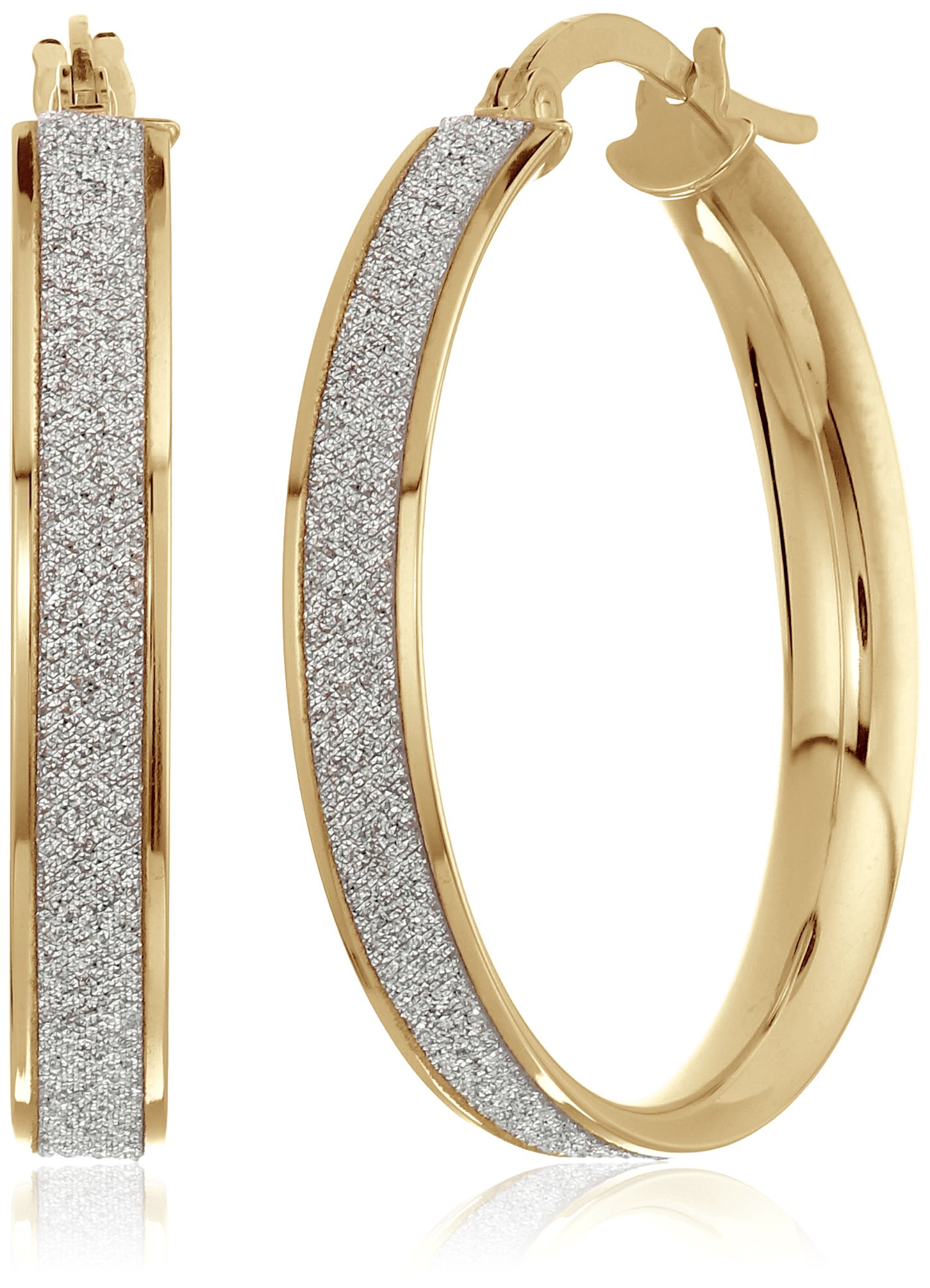 14k Yellow Gold Italian 20 mm Hoop Earrings with Pave Style Glitter Hoop Earrings by Amazon Collection