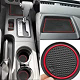 Auovo Anti Dust Mats for Nissan Frontier Crew Cab 2005-2019 Custom Fit Door Pocket Liners Cup Holder Pads Console Mats Accessories(24pcs/Set) (red) (Color: red)