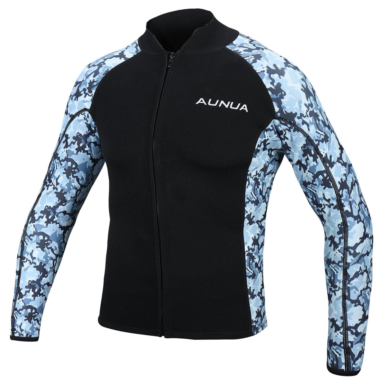 Aunua メンズ 2mm ネオプレン ウェットスーツ カモフラージュ ジャケット 長袖 サーフィン トップス B07837HB94 Ocean camouflage XX-Large XX-Large Ocean camouflage