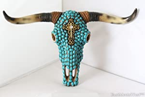 Western Cowboy Turquoise Mosaic Bronze Scroll Cross Longhorn Steer Skull Rustic Hand Painted Wall Mounted