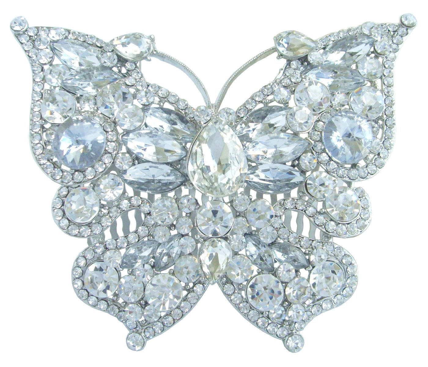 Sindary 3.94'' Silver Tone Butterfly Hair Comb Clear Rhinestone Crystal Wedding Headpiece HZ4919
