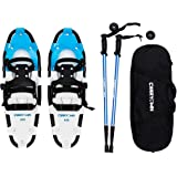 "Carryown Snowshoes Snow Shoes 14""/21""/25""/27""/30"" for Adults Men Women Youth Kids with Pair Antishock Snowshoeing Poles, Adjustable Ratchet Binding, Free Carrying Tote Bag"