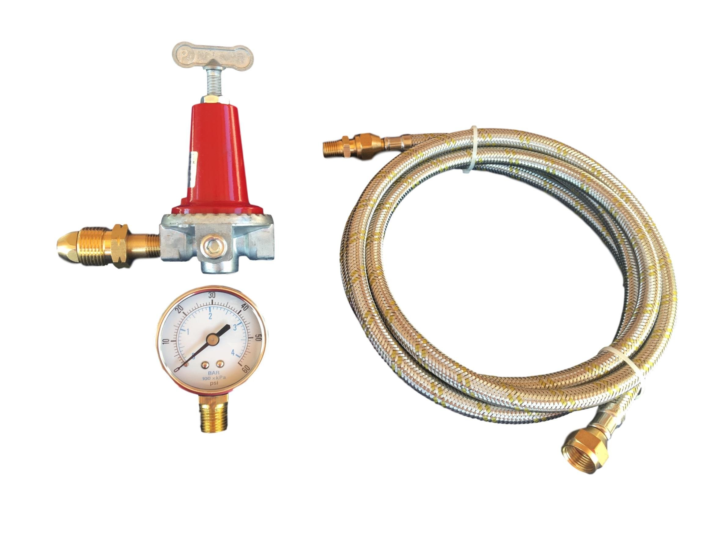 High Pressure Adjustable 0 to 40psi Propane Regulator POL LP Gas Gauge and 12ft Stainless Steel Braided Hose