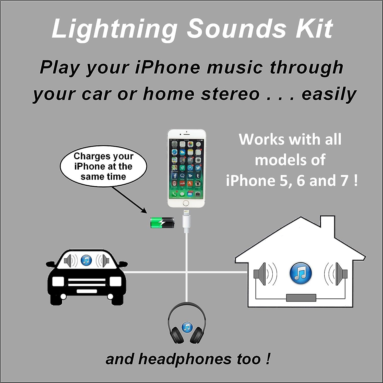Amazon.com: Lightning Sounds Kit iPhone 5/6/7 Car/Home/Headphone Aux ...