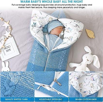 Bambino con Cappuccio Swaddle Coperta Neonato Sacco a Pelo Sacco Swaddle Passeggino Passeggino Carrozzina Avvolgere Coprigambe Caldo per 0-8 Mesi Baby Ragazzi Ragazze Blu