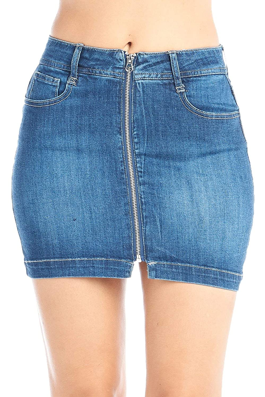 Darkbluee Khanomak Women's HighRise Denim Zipper Down Front Jeans Bodycon Mini Skirt