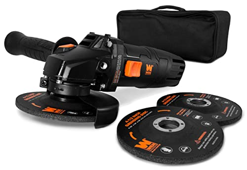 WEN 94475 7.5-Amp 4-1 2-Inch Angle Grinder with Reversible Handle, Three Grinding Discs, and Carrying Case