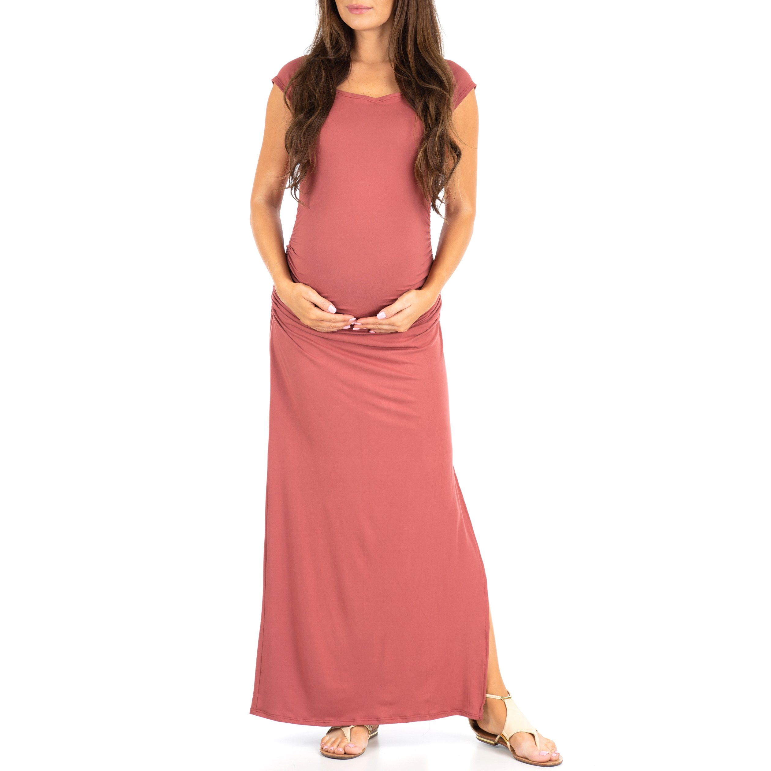 Women's Shortleeve Ruched Bodycon Maternity Dress with Side Slits - Made in USA