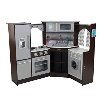 Kidkraft Ultimate Corner Play Kitchen With Lights Sounds Brown White