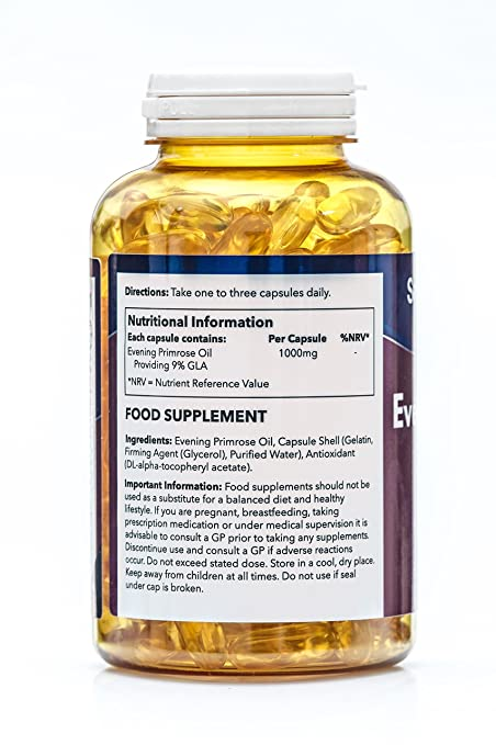 Aceite de Onagra 1000mg - 180 cápsulas - Hasta 6 meses de suministro - Para la salud del corazón y el equilibrio hormonal - SimplySupplements: Amazon.es: ...