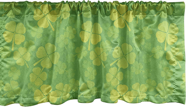 Lunarable Shamrock Window Valance, 4 Leaf Clover Monochrome Traditional Saint Patrick's Day Arrangement, Curtain Valance for Kitchen Bedroom Decor with Rod Pocket, 54