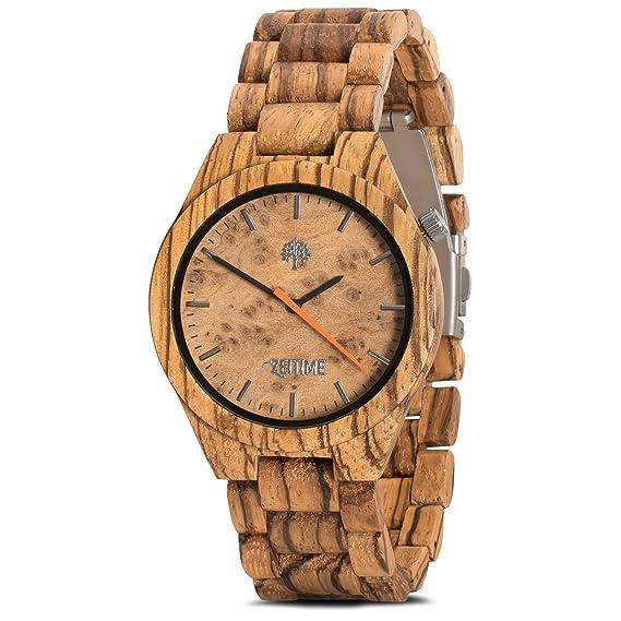 zeitime Madera Reloj de madera de cebra. | Don Alpha | puede Caja de Regalo