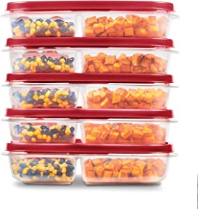 Rubbermaid EasyFindLids Meal Prep Containers, 3 Compartments, 5.1 Cup, 5-Pack