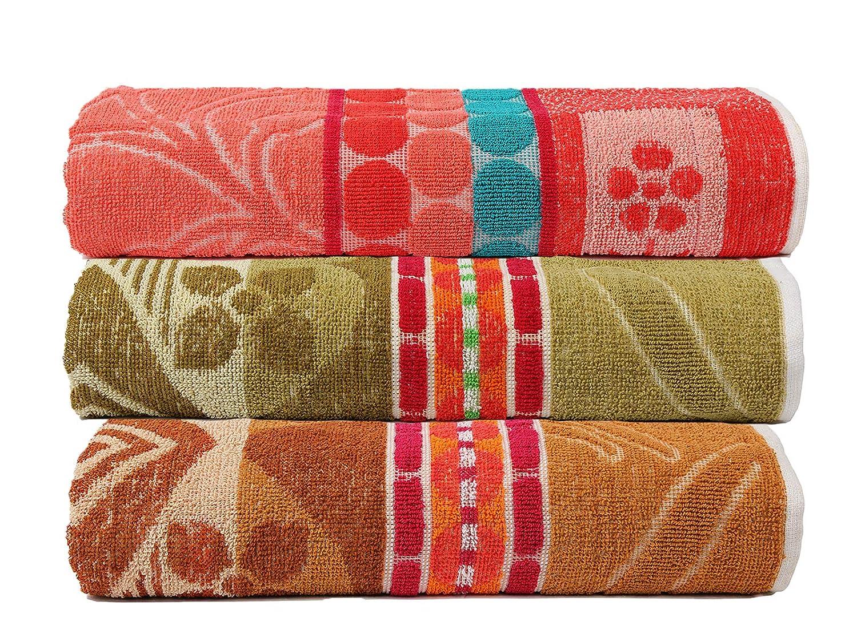 Confezione da 3 Pezzi Colore: Marrone Motivo Jacquard colorato Casa Copenhag Verde e Giallo 400 g//mq Asciugamani da Bagno in Cotone di Alta qualit/à 68,6 x 137,2 cm in Cotone