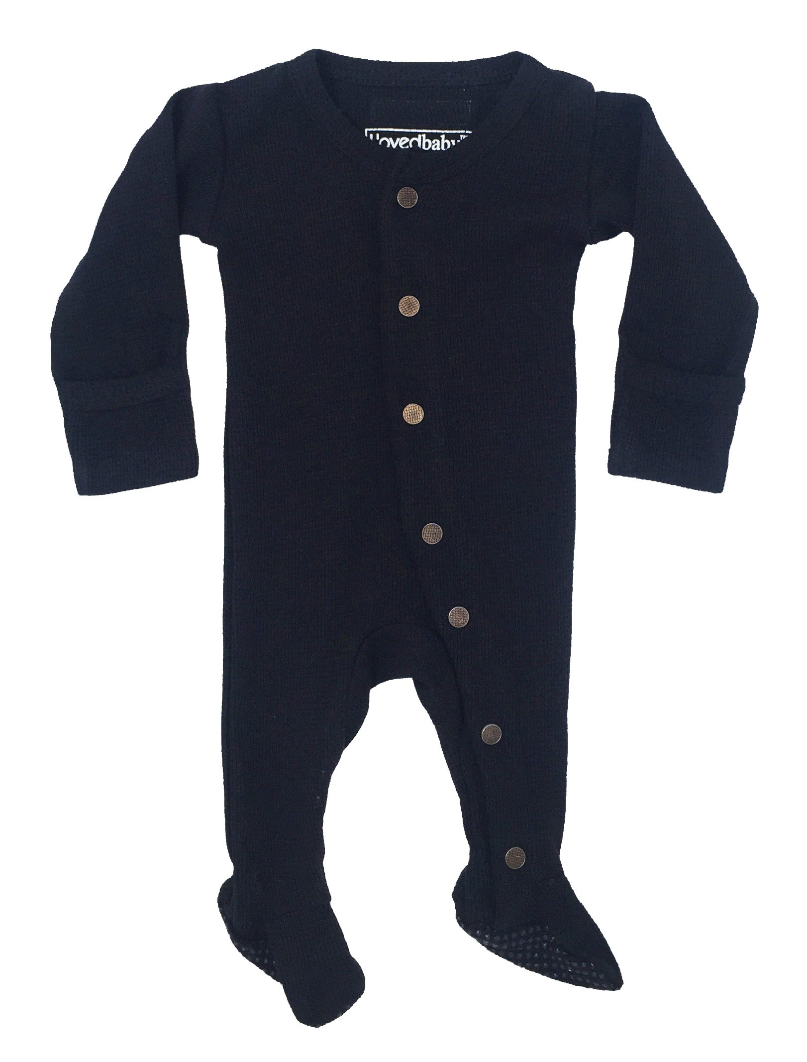 L'ovedbaby Unisex-Baby Organic Cotton Footed Overall (NB/Preemie (4-7 lbs.), Thermal Black)