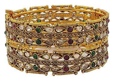 Matra Ethnic Bollywood Goldtone 2 Pcs Screw Lock Bangle Set Traditional Bracelet Jewelry