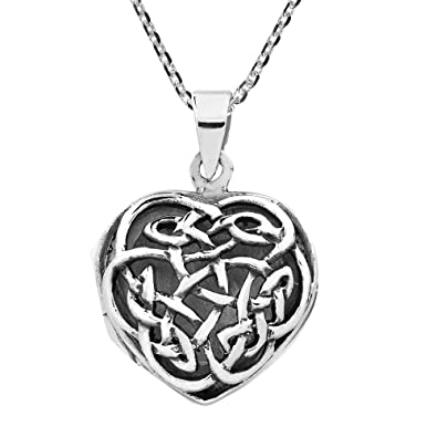 3005da59052d2 Image Unavailable. Image not available for. Color  AeraVida Endless Celtic  Knot Heart Locket .925 Sterling Silver Necklace