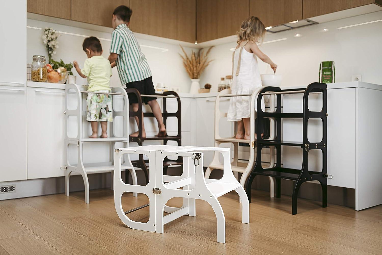Stuhl StepnSit alles in einem Hocker//Montessori Learning tower Lernturm light GRAY color//SILVER clasps Tisch kitchen helper step stool