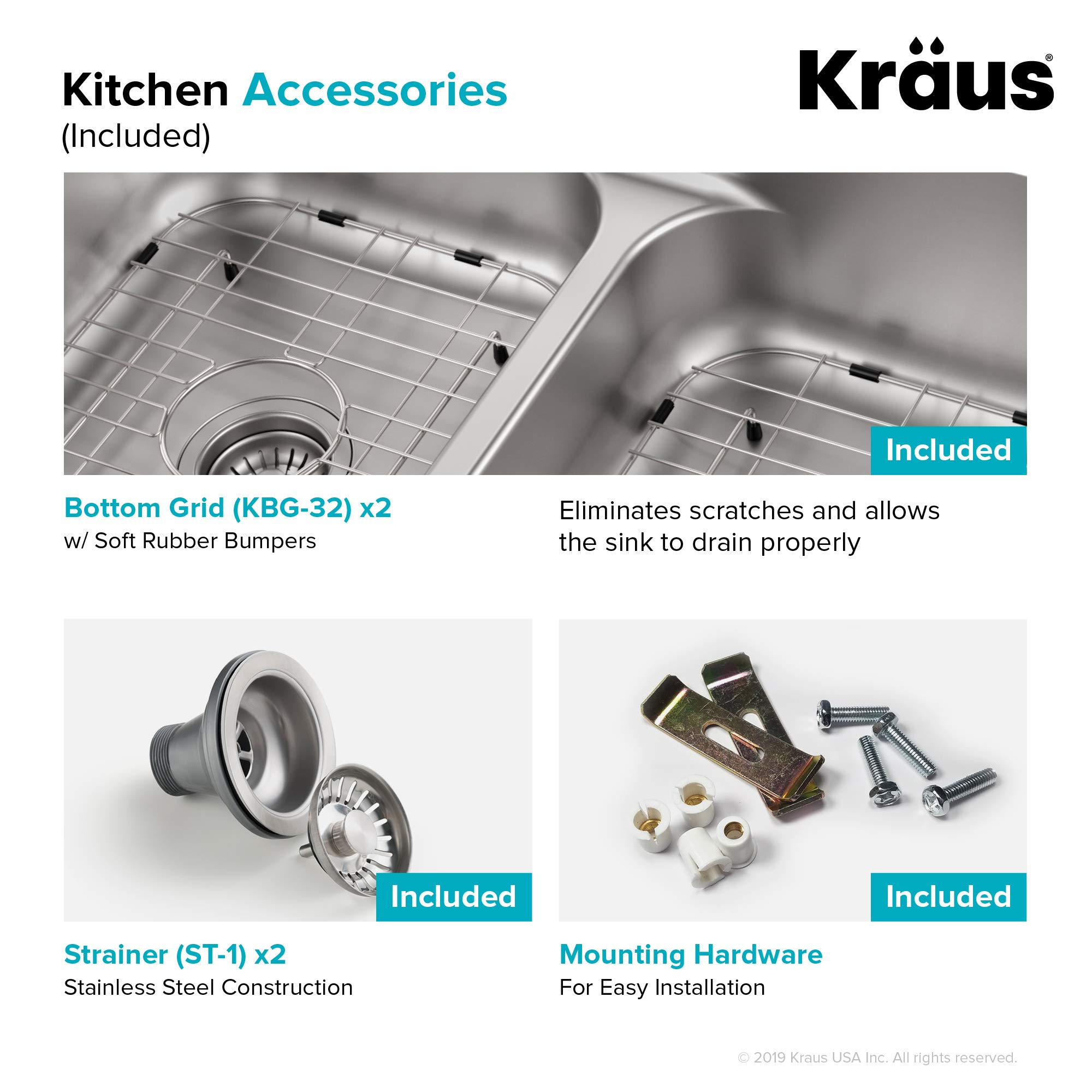 KRAUS KBU32 Premier 32-inch 16 Gauge Undermount 50/50 Double Bowl Kitchen Sink with Smart Low Divider by Kraus (Image #9)