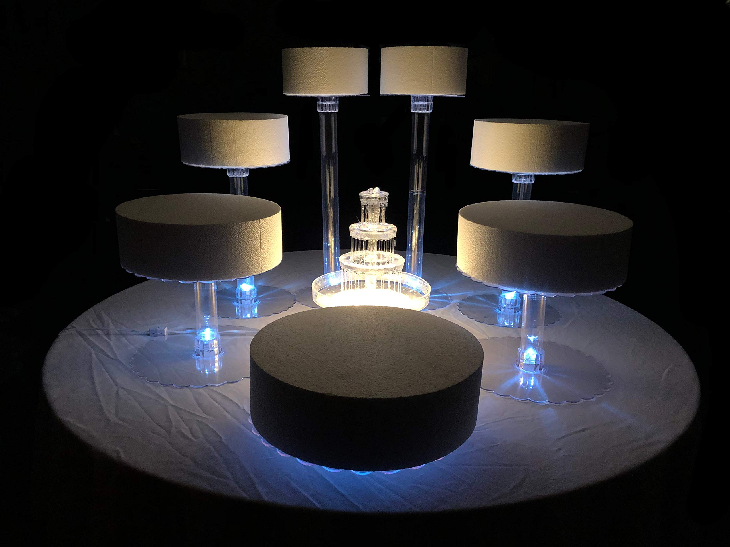 Multi Tier Cake Stand with White LED Lights (7 Tier Stand, With Fountain)