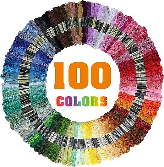 Libershine Madejas de Hilos 100 Madejas 100 Colores Hilos de ...
