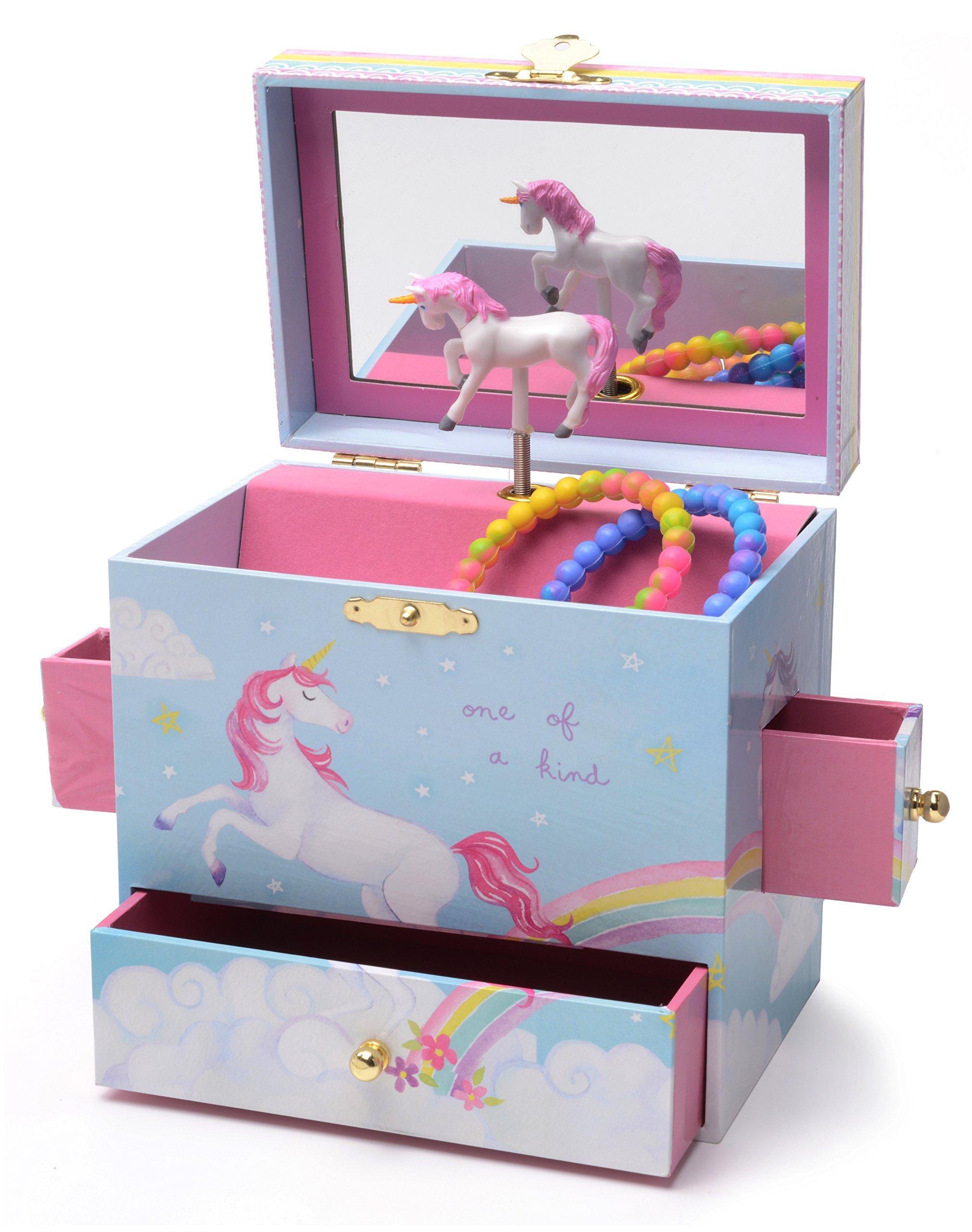 JewelKeeper Musical Jewelry Box with 3 Drawers, Rainbow Unicorn Design, Somewhere Over the Rainbow Tune