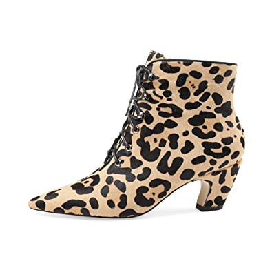 Women's Leopard Print Horse Pony Hair Chunky Low Heel Lace Up Ankle Boots
